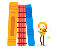 Illustrated character standing next to books.