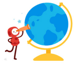 Illustrated character standing next to globe.