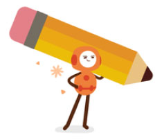 Illustration of character holding pencil.